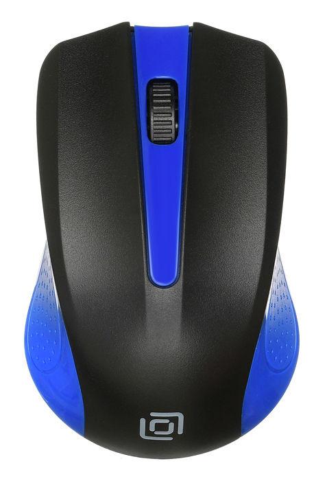 Мышь OKLICK 485MW, оптическая, беспроводная, USB, черный и синий [mo-353]