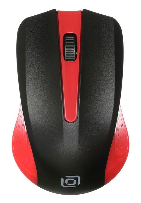 Мышь OKLICK 485MW, оптическая, беспроводная, USB, черный и красный [mo-353]