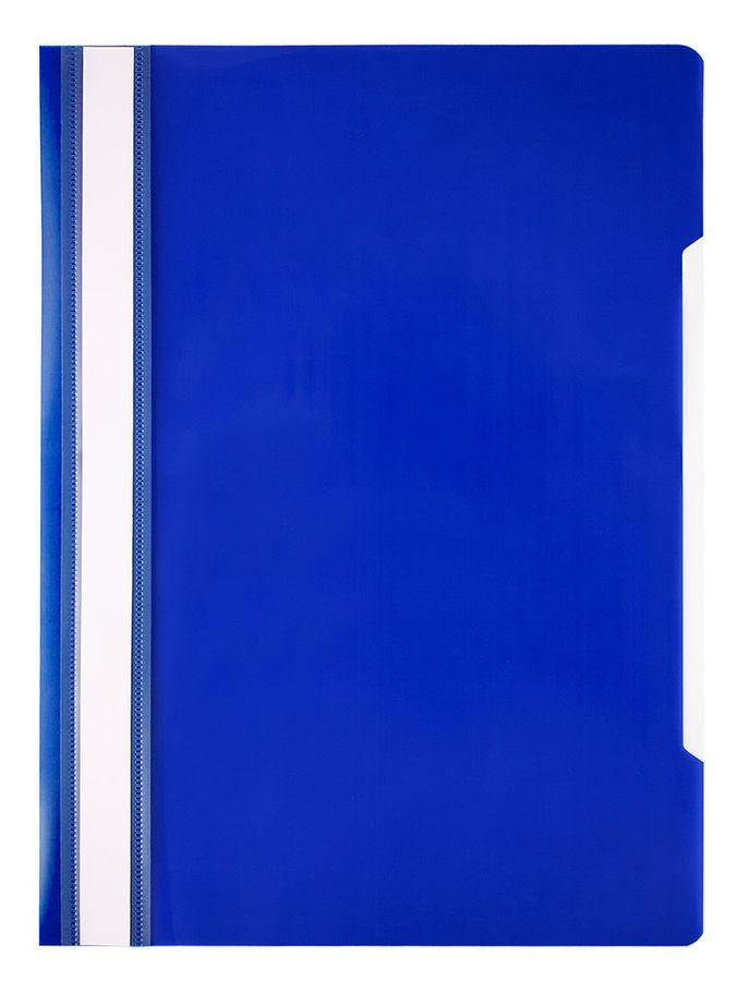 Папка-скоросшиватель Бюрократ Economy -PSE20BLUE A4 прозрач.верх.лист пластик синий