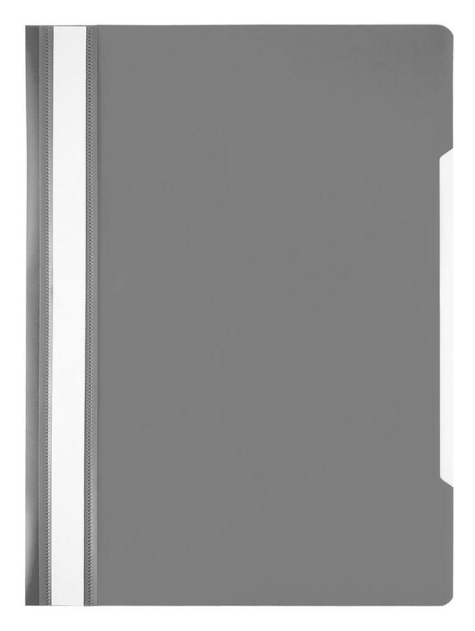 Папка-скоросшиватель Бюрократ Economy -PSE20GREY A4 прозрач.верх.лист пластик серый